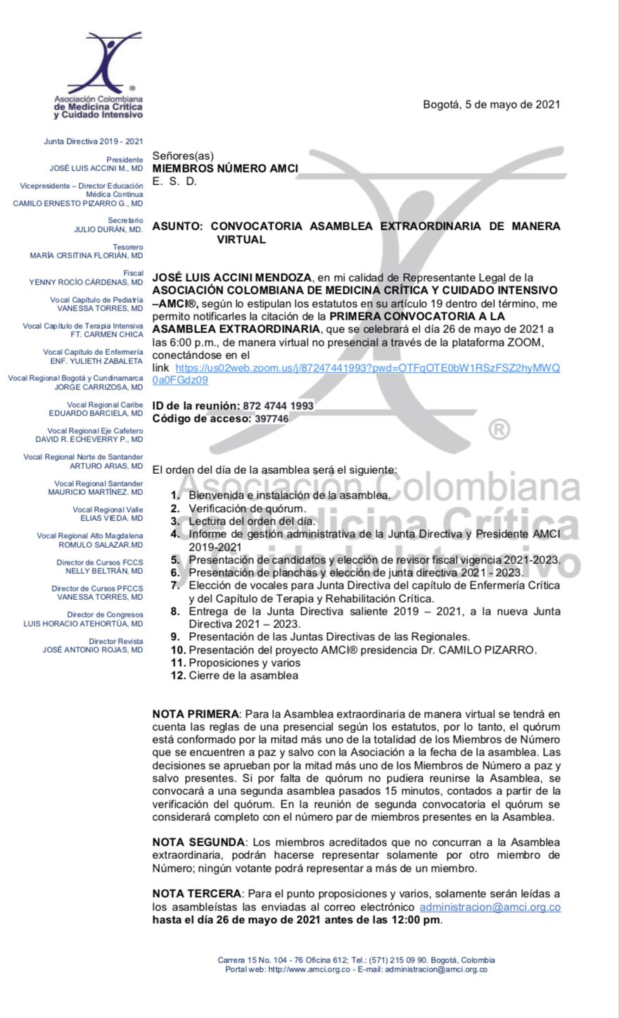 CONVOCATORIA ASAMBLEA EXTRAORDINARIA AMCI DE MANERA VIRTUAL - 26 de mayo 2021 - 18:00Hrs